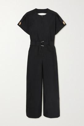 3.1 Phillip Lim Belted Cutout Cotton-blend Poplin Jumpsuit - Black