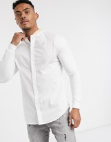 SikSilk long sleeve shirt in white with tape grandad collar