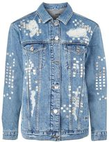 Topshop Moto gem embellished oversized jacket