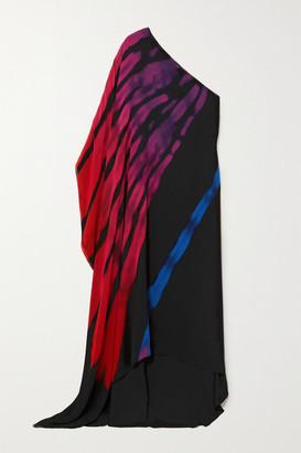 Halpern One-sleeve Printed Chiffon Maxi Dress - Black