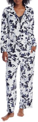 Donna Karan Cream Floral Velour Pajama Set