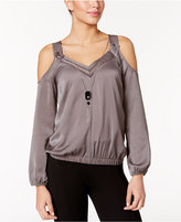 Thalia Sodi Cold-Shoulder Satin Necklace Top, Only at Macy's