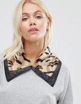 Urban Code Urbancode Faux Fur Leopard Collar With Trim