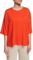 Joan Vass Half-Sleeve Boxy Big Tee, Plus Size