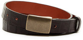 Tailorbyrd Croc-Embossed Plaque Buckle Leather Belt