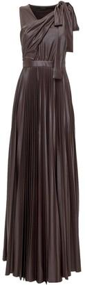 Pinko Alex Faux Leather Draped Maxi Dress