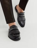 Asos Design DESIGN backless mule loafer in black faux leather with fringe and studding detail