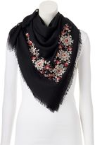 Lauren Conrad Embroidered Floral Square Scarf