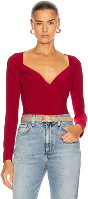 Norma Kamali Long Sleeve Sweetheart Top in Red | FWRD