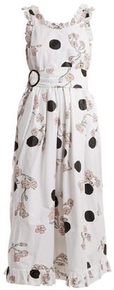 Isa Arfen Ruffle-trimmed Polka Dot-print Cotton Dress - Womens - White Print