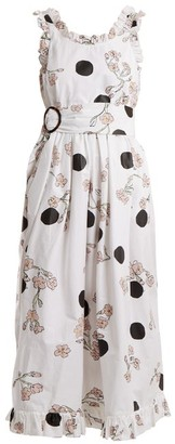 Isa Arfen Ruffled Polka-dot Cotton Dress - Womens - White Print
