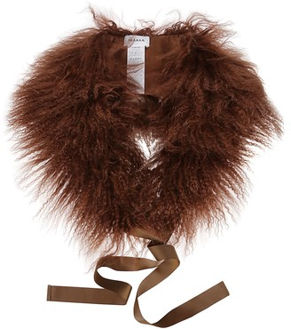 P.A.R.O.S.H. Brown Shearling Quizz Scarf