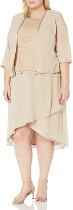Le Bos Women's Plus Size Embroidered Scallop Hem Tiered Jacket Dress