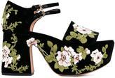 Rochas floral embroidered platform sandals