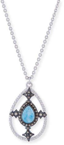 Armenta New World Blue Quartz Triplet Shield Pendant Necklace with Diamonds