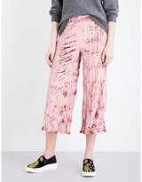 Topshop Wide-leg crushed-velvet trousers