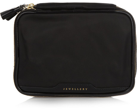 Anya Hindmarch Patent leather-trimmed jewelry case