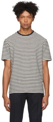 Officine Generale Navy and White Striped T-Shirt