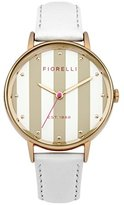 Fiorelli Women's Quartz Watch with White Dial Analogue Display and White Leather Strap FO017WRG