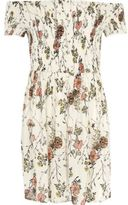 River Island Girls Cream floral print shirred bardot dress