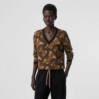 Burberry Monogram Intarsia Woo V-neck Sweater