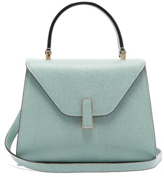 Valextra Iside Mini Grained-leather Bag - Light Blue