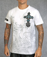 Rebel Spirit White & Teal 'Rebel Spirit' Cross Tee - Men's Regular