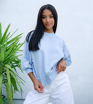 ASOS DESIGN Petite boxy sweat with wide sleeve in pale blue