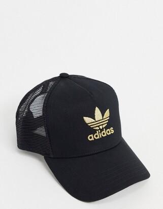 adidas Adicolour gold trucker cap in black