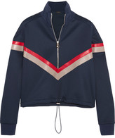 Versace Leather-paneled Stretch-satin Jersey Sweatshirt - Navy
