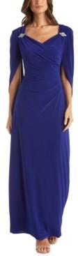 R & M Richards Embellished Drape-Back Gown