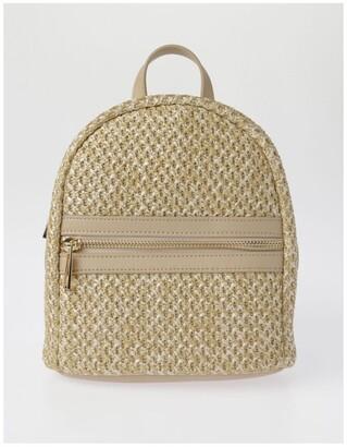Miss Shop Zip Around Mini Straw Backpack Bag