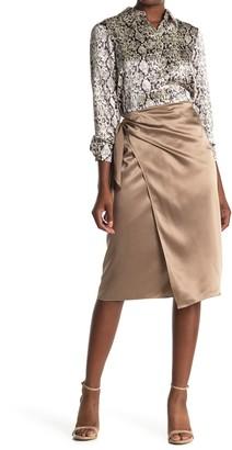 Cinq à Sept Mya Wrap Style Silk Midi Skirt