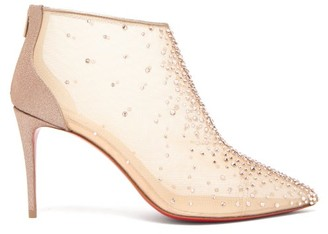 Christian Louboutin Constella 85 Crystal-embellished Mesh Boots - Nude