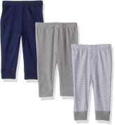 "Luvable Friends Baby Boys' ""Classic Solids & Stripes"" 3-Pack Pants"