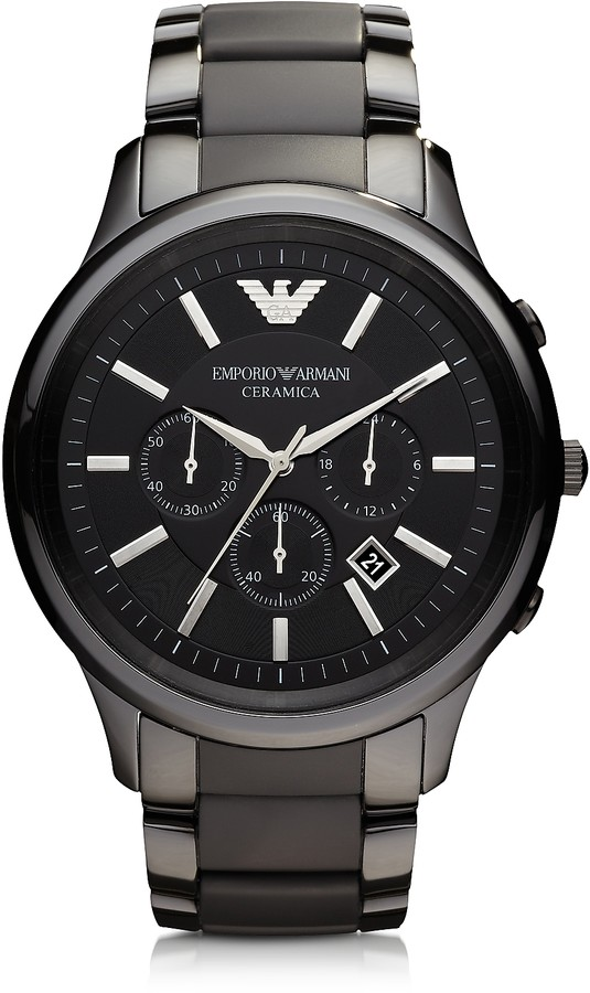Emporio Armani Black Ceramic & Stainless Steel Men's Watch