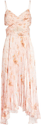 AMUR Lumi Cut-Out Pleated Midi Dress