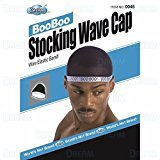 Dream Dream, Boo Boo STOCKING WAVE CAP, Wire Eastic Band (Item #045 Black) 3 pack