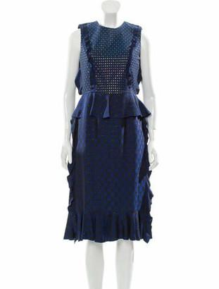 Lanvin Floral Pattern Midi Dress w/ Tags black