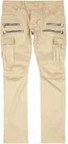 Balmain Sand Zipped Cotton Blend Cargo Trousers