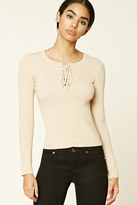 Forever 21 FOREVER 21+ Lace-Up Ribbed Knit Sweater