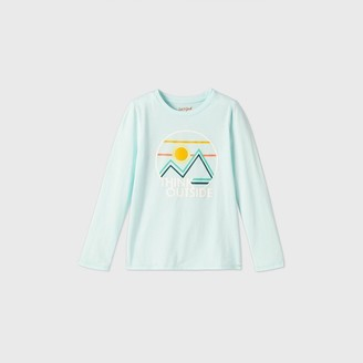 Cat & Jack Girls' Long Sleeve 'Think Outside' Mountain Graphic T-Shirt - Cat & JackTM