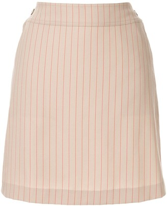 Chanel Pre Owned CC button charm stripe skirt