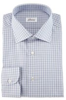 Brioni Shadow-Check Long-Sleeve Dress Shirt, Burgundy/Navy/Gray