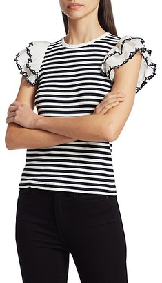 Tanya Taylor Adrien Ruffle-Sleeve Stripe Top