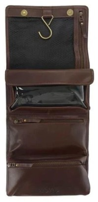 Vida Vida Hanging Dark Brown Leather Wash Bag
