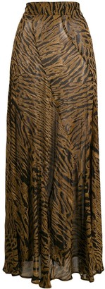 Ganni Tiger-Print Maxi Skirt