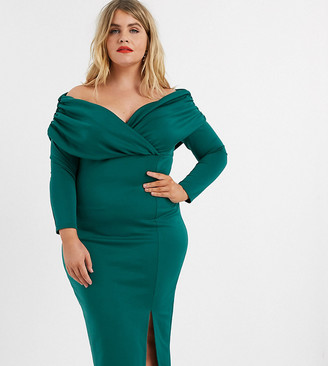 ASOS DESIGN Curve scuba bardot ruched side long sleeve midi dress in green