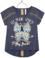 Beautees Short-Sleeve High-Low Top with Necklace - Girls 7-16