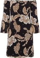 Bardot Off Shoulder Wide Sleeve Printed Tunic Dress